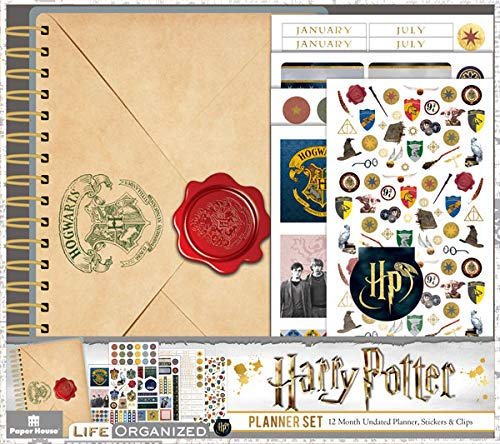 Paper House Productions PLS1000 Harry Potter 12 Month Mini Planner Set includes Stickers Magnetic Clip -