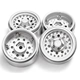 RCLIONS Aluminum Alloy 1.9inch RC Beadlock Wheels Rims for 1/10th Scale RC Crawler Car -Pack of 4pcs