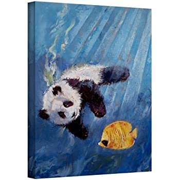 Art Wall Panda Diver Gallery Wrapped Canvas Art by Michael Creese, 18 by 14-Inch