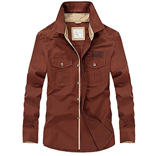 NeeKer Jacket Men Long Sleeve Shirt Cotton Fall Business Breakout Casual Long Sleeve Shirt Z78 red S Asian 165cm 50kg
