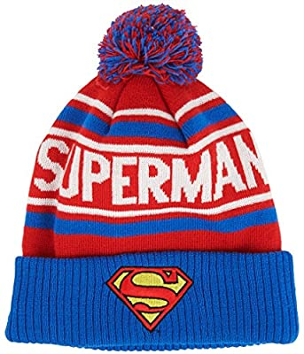 DC Comics Men's Superman Cuffed Pom Beanie with Embroidered Logo from DC Comics