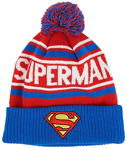Superman Embroidered Beanie - DC Comics Men's Superman Cuffed Pom Beanie with Embroidered Logo