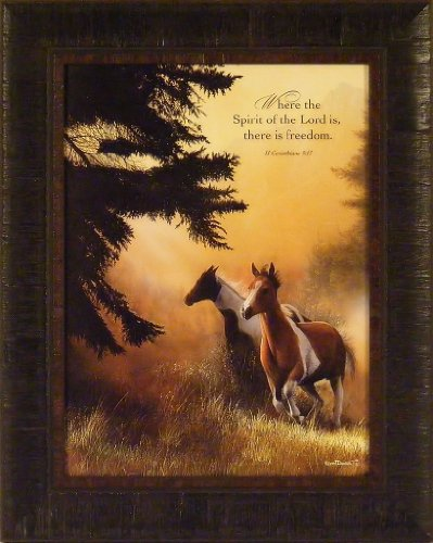 Freedom by Kevin Daniel 17x21 Horses Scripture Religious Framed Art Print Wall Décor - Equestrian Canvas Art