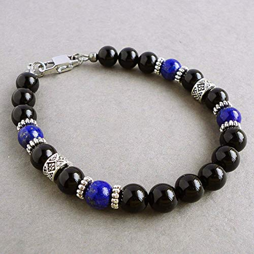 Blue Lapis and Black Onyx Mens Bracelet - Gemstone Beaded Jewelry - Handcrafted in (Beaded Gemstone Jewelry)