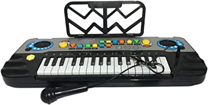 Black 32 Keys Toy Piano Multifunction Electronic Kids Keyboard Piano Music Piano Keyboard for Toddler with Microphone Child Piano