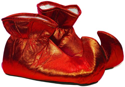 [Forum Novelties Women's Deluxe Costume Cloth Elf Shoes, Red, One Size] (Green And Red Elf Costumes)