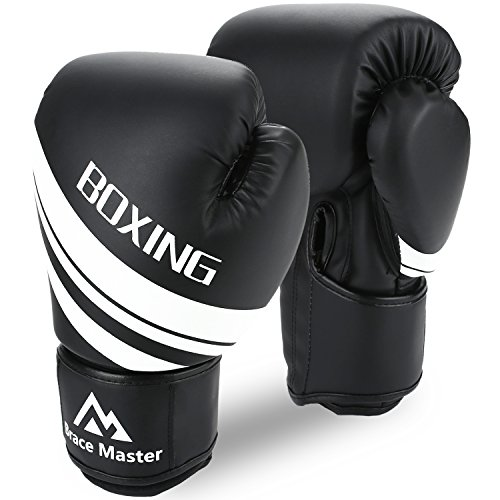 Brace Master Boxing Gloves for Men and Women, Punching Heavy Bag Training Gloves Leather Infused Gel for Sparring, Kickboxing, Fighting, Mitts, Muay Thai, Sports & Outdoor Play Games (Black, 12OZ)
