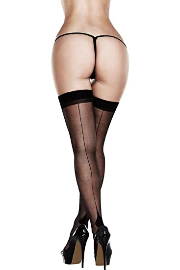 25f36f83e Image Unavailable. Image not available for. Color  Baci Black Sheer Cuban  Heel Thigh Highs ...