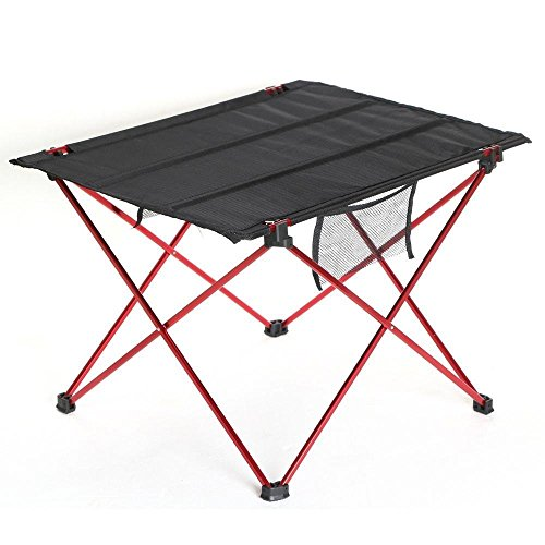 Portable Folding Picnic Table,LUOLAX Lightweight Aluminium Outdoor Desk for Travel, Fishing, BBQ, Beach Party with Mesh Pockets and Carry Bag (Red))