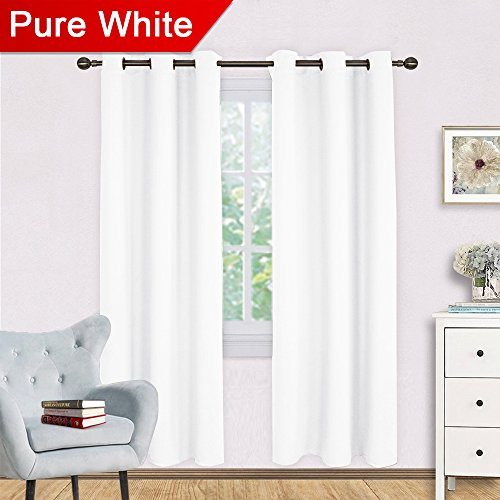 NICETOWN White Curtain Set, Modern Design Solid Grommet Draperies/Drapes for Living Room, Window Dressing for Patio Door (2 Panels, 42 by - Pole Curtain Match