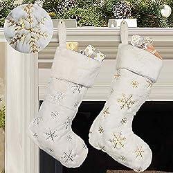 White/Gold Sequin Snowflake Christmas Stockings