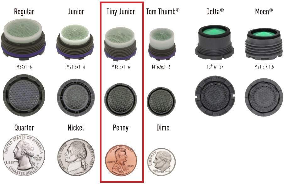Bundle With Key Lime Green//White Dome Neoperl Ultra Low Flow PCA Cache Spray Aerator Spray Stream M18.5 x 1 Threads 2 Items 0.5 GPM Tiny Jr//TJ Size