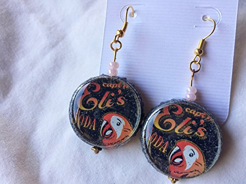 Pink Beaded Fairy and Recycled Capt Elis Soda Parrot Bottlecap Earrings ()