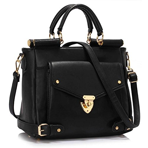 LeahWard Large Size Top Handle Faux Leather Business Meeting Office Handbags Satchels Sale Clearance 237 Black Twist Lock Flap Grab Tote