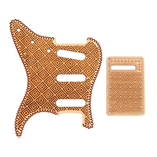 Guitar Pickguard Set, Maple Pickguard & Back Plate for ST Style SSS Electric Guitar Replacement Accessory(Lattice Pattern)