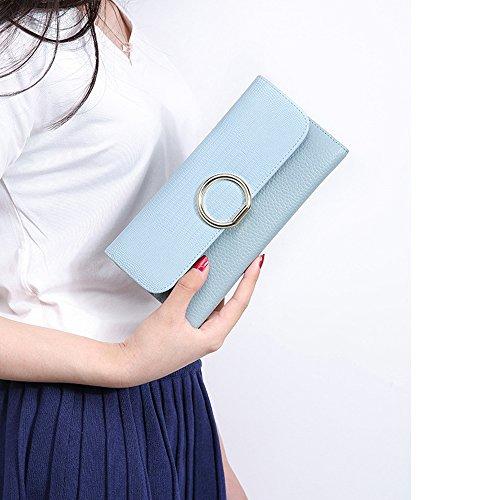 Sheli Moda Bolsos de Mano Clutch Largo Carteras para Mujer Dama Cuero Billetera Tarjetero Azul