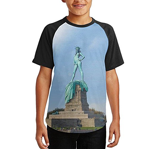 Funny The Statue Of Liberty Hot Youth Boys Girl 3D Printed Casual Short Sleeve Funny Crew Neck Tank Tee Top T-Shirt X-Large by BKDMHHH