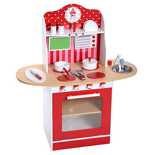 Kids Wood Kitchen Toy Cooking Pretend Play Set Toddler