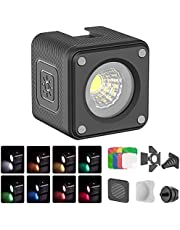 Apsung Video Light, IP68 Waterproof LED Panel Light Mini Portable Video Lighting with 8 Color Gel Filters, Dimmable Fill Light for GoPro, Professional Audio, Video & Lighting