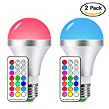 colored light bulbs 60 watt - LED Color Changing Light Bulbs DayLight E26 10W RGB Light Bulbs with 21key Remote Control, 60W Incandescent Equivalent, Memory Function, RGB Daylihgt White, Dimmable with Remote, Pack of 2