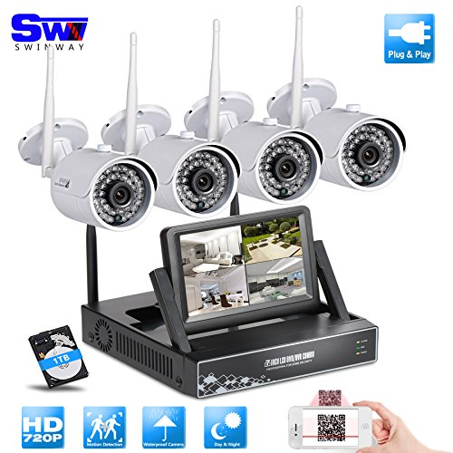 SW Swinway All In One 720P WIFI CCTV System 4CH 1.0MP Wireless NVR With 7 Inch LCD Monitor + 720P Waterproof Outdoor Indoor IP Camera IR-CUT Night Vision Home Security Surveillance Kits (Cctv Wi Fi compare prices)