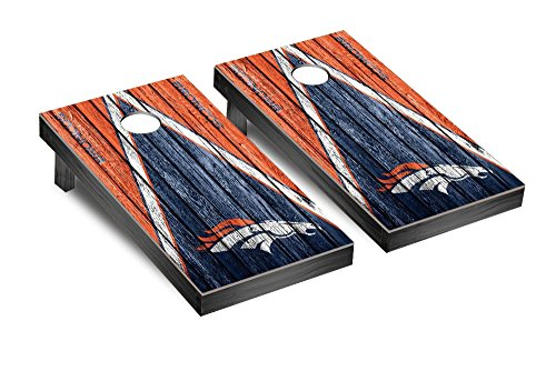 NFL Denver Broncos Triangle Weathered Version Football Corn hole Game Set, One Size by Victory Tailgate (Image #1)