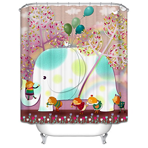 Finearts The Elephant With Small Friends Bathroom Curtains Of Polyester Width X Height / 72 X 80 Inches / W H 180 By 200 Cm Decoration Gift For Relatives Girls Valentine Mother. Rust Pro