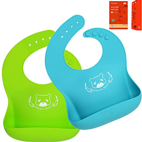 DREAM BEAR Bacteria Resistant Soft Silicone Baby Bibs,Easy To Keep Clean.Set of 2Pack