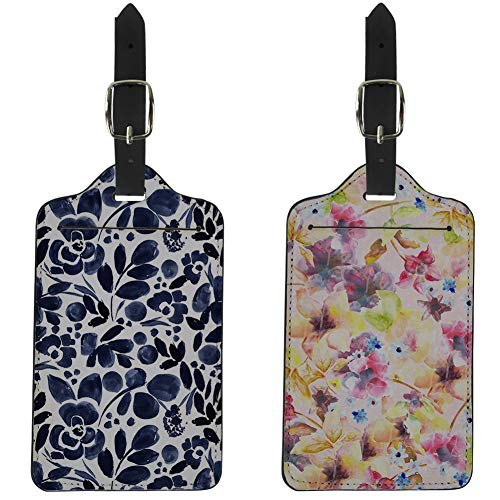 - Coloranimal Leather Luggage Tag 2 Piece Sets Cute Flower Pattern Travel ID Tags with Adjustable Leather Strap, Name Address Card and Privacy Cover