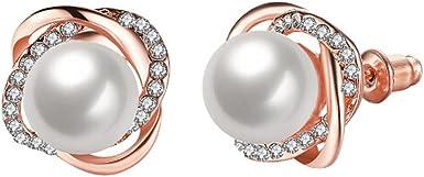 3 Paires Boucles dOreilles de Cr/éoles de Perles Boucles dOreilles de Perle pour Cadeau de Mari/ée de Femmes Filles