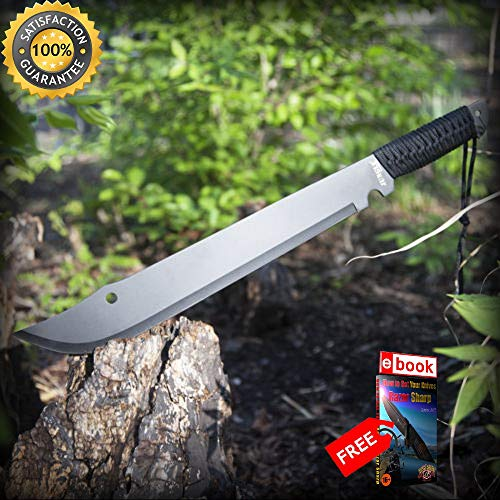 - 21'' SURVIVAL HUNTING JUNGLE MACHETE SHARP KNIFE with SHEATH Fixed Blade Military Sword Combat Tactical Knife + eBOOK by Moon Knives