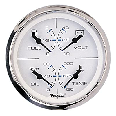FARIA GAUGES Chesapeake 4-in-1 Combo SS/WHT: Automotive