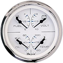 Faria OPQ-1 33851 Combo Gauge-Chesapeake White, Stainless Steel