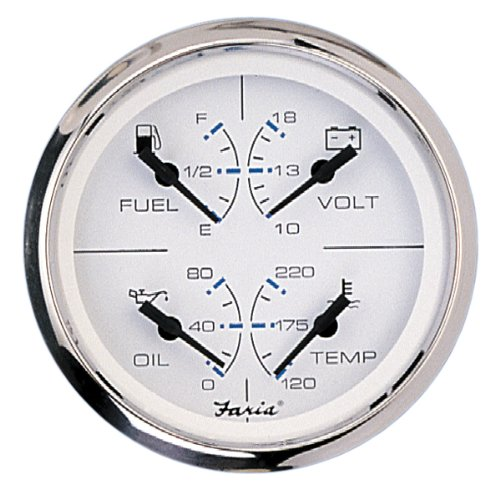 Faria 33851 Combo Gauge-Chesapeake White, Stainless Steel by Faria