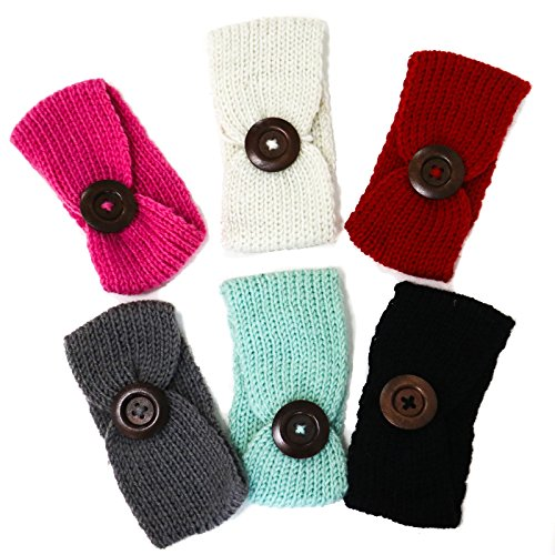 Knit Button Band - MAISHO 6 Pcs Baby Button Headbands Knit Head Wrap Knotted Hair Band Winter Warm Headband