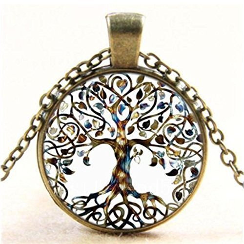 CHRWANG 1pc Vintage Ladies' Necklace the Tree of Life Glass Gem Pendant Long Chain Blessing Necklaces (Rose Light Glass Pendant)