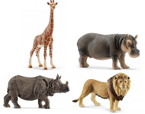 Schleich African Wildlife Set of 4: Rhinoceros, Hippopotamus, Lion and Giraffe in Bag with Tissue Paper and Bow ()