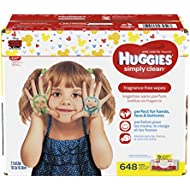 Huggies Simply Clean Unscented Baby Wipes, 9 Flip Top Packs, 648 Count Total (packaging may vary)