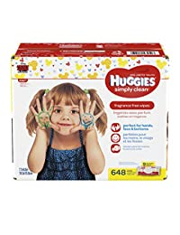 Huggies Simply Clean Unscented Baby Wipes, 9 Flip Top Packs, 648 Count Total