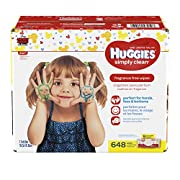 HUGGIES Simply Clean Fragrance-Free Baby Wipes, Pack of 9 Soft Packs (64 Wipes per Pack, 576 Count Total)