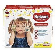 Huggies Simply Clean Unscented Baby Wipes, 9 Flip Top Packs, 648 Count Total (packaging may vary)