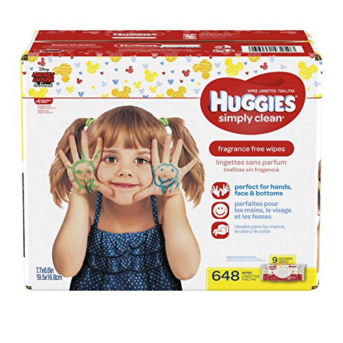 HUGGIES Simply Clean Fragrance Free Baby Wipes, Pack of 9 Soft Packs (72 Wipes per Pack, 648 Count Total), Alcohol and Paraben Free from HUGGIES
