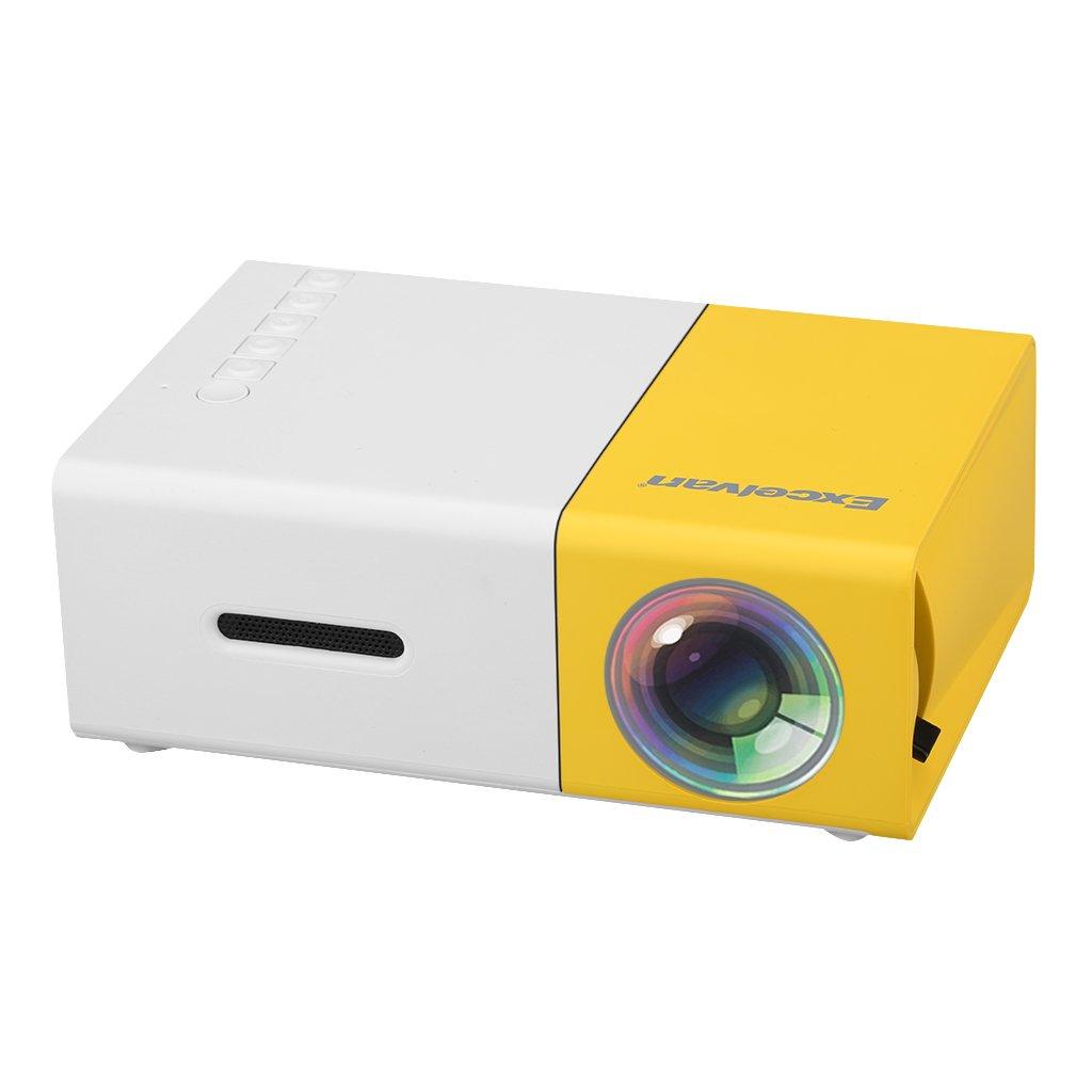 Excelvan YG300 - Mini LED Proyector Portátil (300x240P, 4: 3 16: 9, Soporta 1080P, Proyección 24