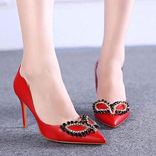 L@YC® Mujer High Heels Nightclub Ultra BotóN TacóN alto Una Multa Gran TamañO Con Sandalias De Danza Red