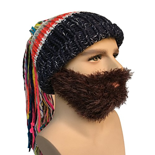 Brown Fur Wig - Kafeimali Men's Knit Bearded Hats Ponytail Wig Winter Mask Beanie Funny Ski Caps (Brown M)