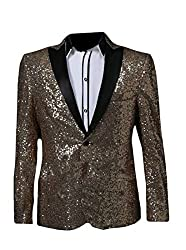 Men's Slim Fit One Button Sequins Coat