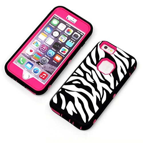 iPhone 6 Case Plus, Lantier [3 en 1 Shield Series] Zebra design hybride motifs Cover boîtier en plastique dur avec étui en silicone souple intérieure (5.5 pouces) Pour Pour iPhone 6 / 6S Plus Noir