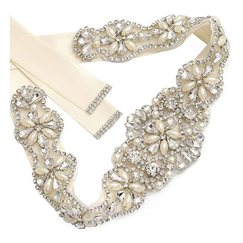 Yanstar Handmade Crystal Bridal Belts Sashes Ivory Cream Wedding Belt With Rhinestones For Wedding Bridesmaid Dress