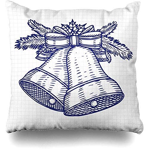 Throw Pillow Cover Berry Jingle Christmas Bells Etching Outlines Holidays Bell Best Bow Branches Brush Design Hand Decorative Pillow Case Decor Square Size 18x18 Inches Home Pillowcase