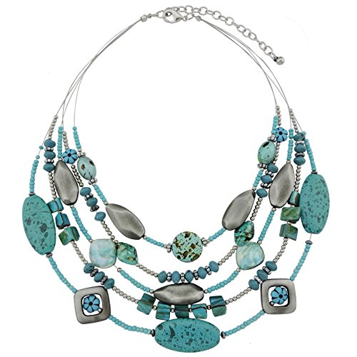 COIRIS 5 Layers Shell Acrylic Beads Illusion Statement Bib Necklace for Women (N0016)